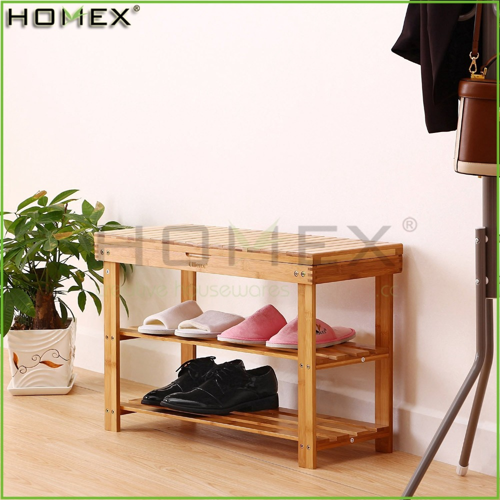 2 Tier Bamboo Shoe Bench with Storage Drawer on Top/Shoe Display Rack Organizer/Homex_FSC/BSCI Factory
