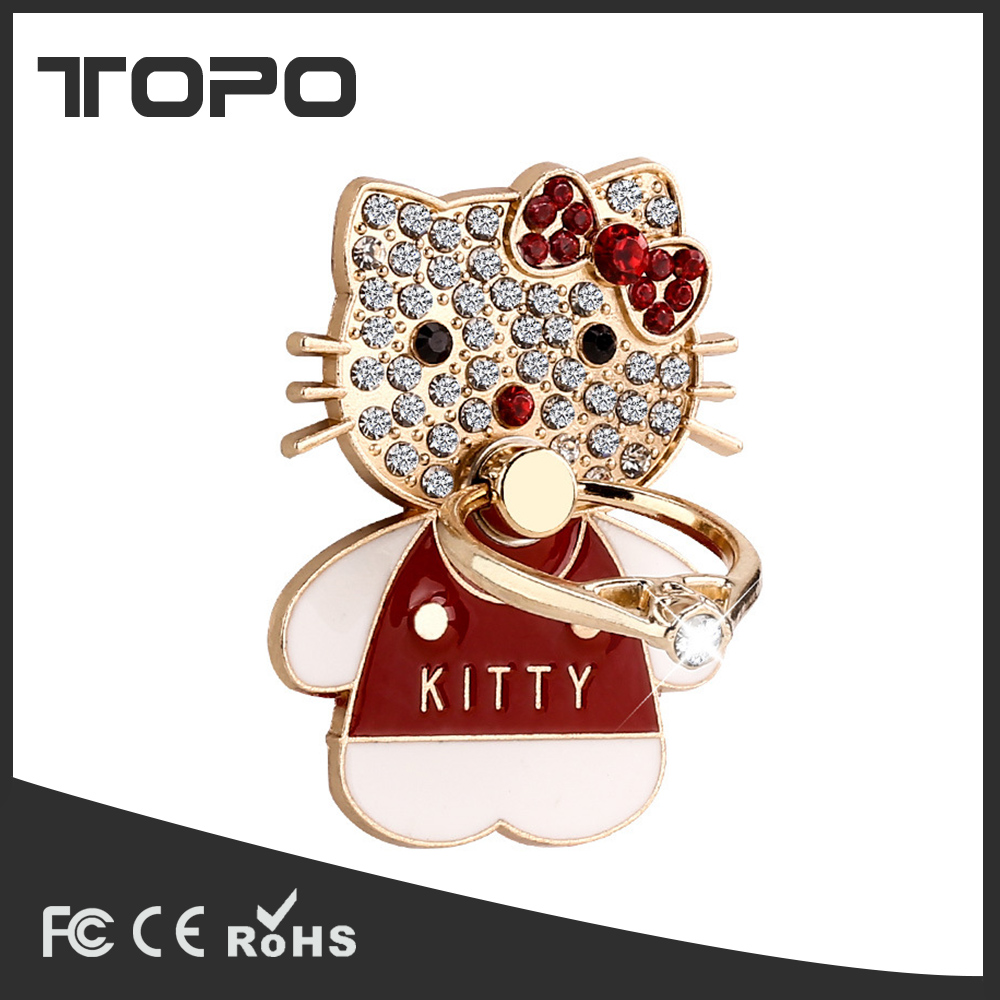 Hot sale 360 degree rotate hello kitty finger grip ring holder universal portable mobile phone diamond ring stent
