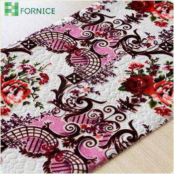 Huzhou Fornice Flower Printed Burn Out Italian Velvet Fabric For