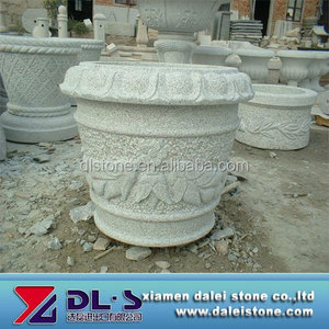 Cheap large landscaping stone granite flower pots