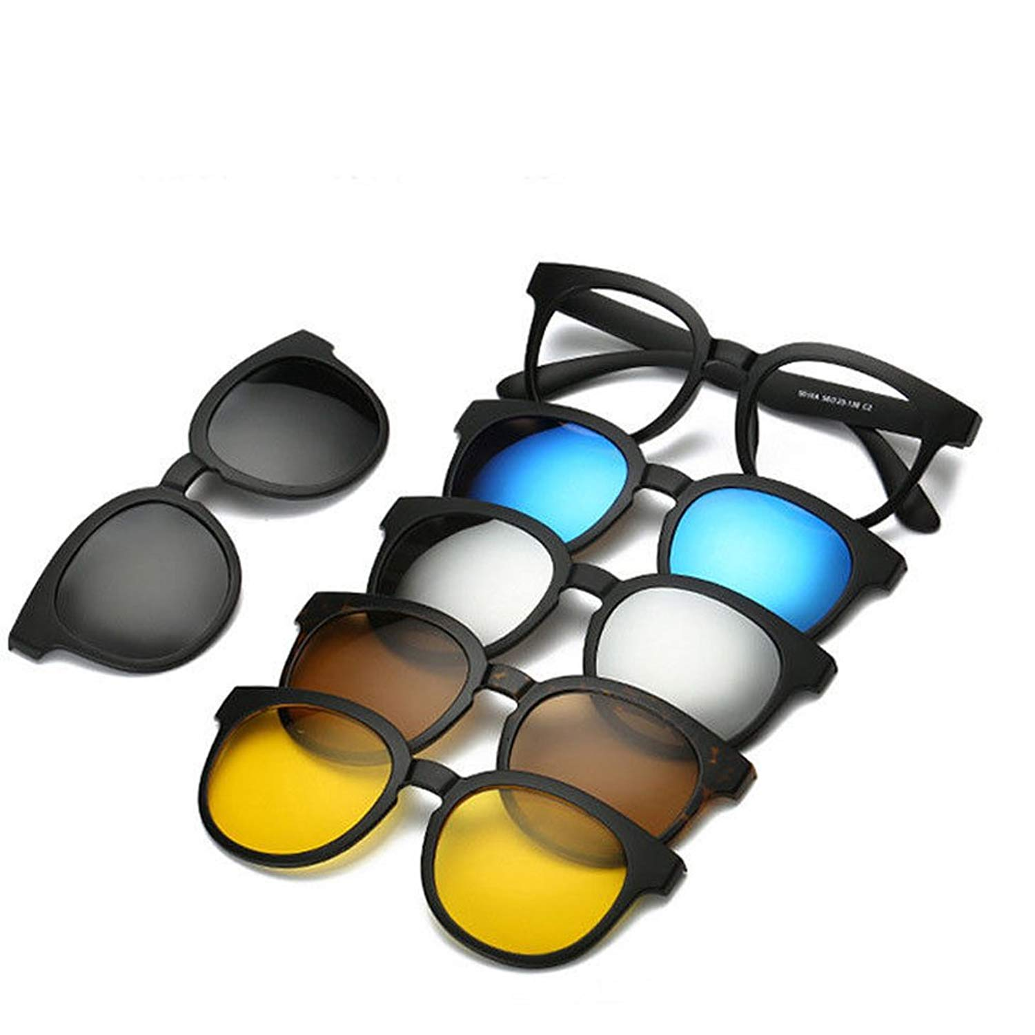 8580c525e3 Get Quotations · Dragon Honor 5 in 1 Magnetic Lens Replaceable Sunglasses  Clip on Sunglasses Eyeglass