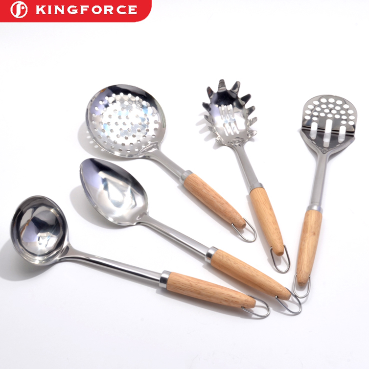 5 Stainless Steel Kitchen Tools Cooking Utensil Serving Set Server Spatula Spoon KF110060S