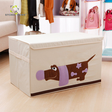 Restangle Polyester and cotton Carton Printed Home kids toy storage box