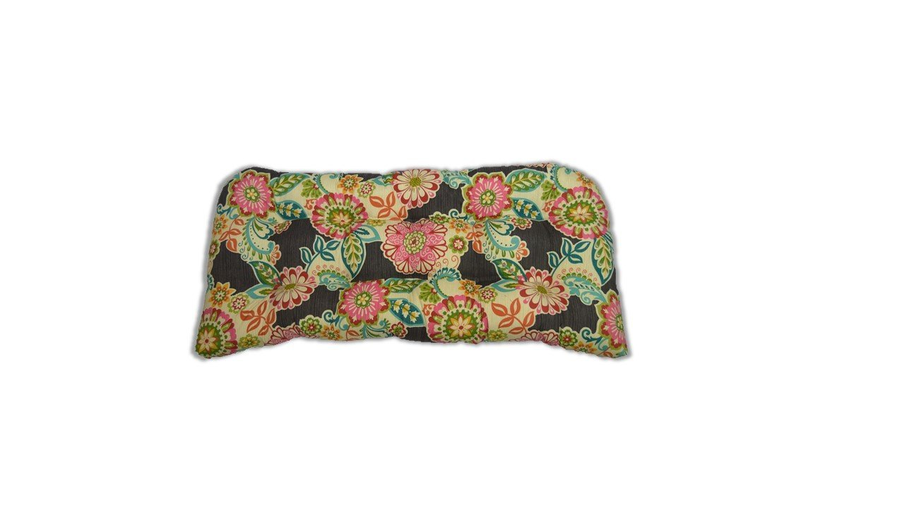 Indoor / Outdoor Tufted Cushion for Wicker Loveseat Settee - Dark Grey/Gray Paisley Floral -- Pink, Red, Ivory, Orange, Blue