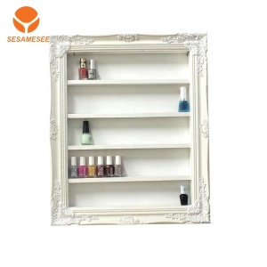 MDF white painting nail polish wall display cabinet with shelves