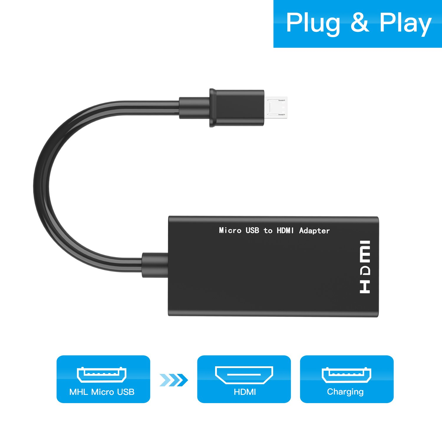 RayCue Micro USB to HDMI Adapter, MHL Micro USB Male to 1080pHDMI Female Adapter Cable for Android Smart phones and Tablets