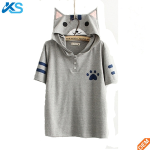 Summer Style Women Anime Kawaii Cat printing Polyester School Clothes Girl Hooded Tee Shirt Tops