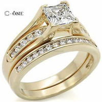 wholesale 925 sterling silver zirconia engagement wedding engraved ring sets gold plated