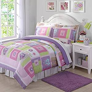 3 Piece Multi Kids Happy Owls Comforter Full Queen Set, Gorgeous Cute Faces Owls, Ladybugs Pattern, Beautiful Square Floral Pattern, Reversible Bedding, Pink Purple Green