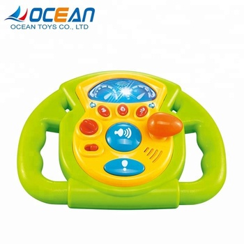 Baby Kids Promotional Musical Lights Driving Game Toy Steering Wheel For Car Seat