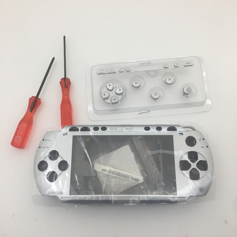 Silver Full Housing Repair Mod Case + Buttons Replacement for Sony PSP 1000 Console Housing Shell