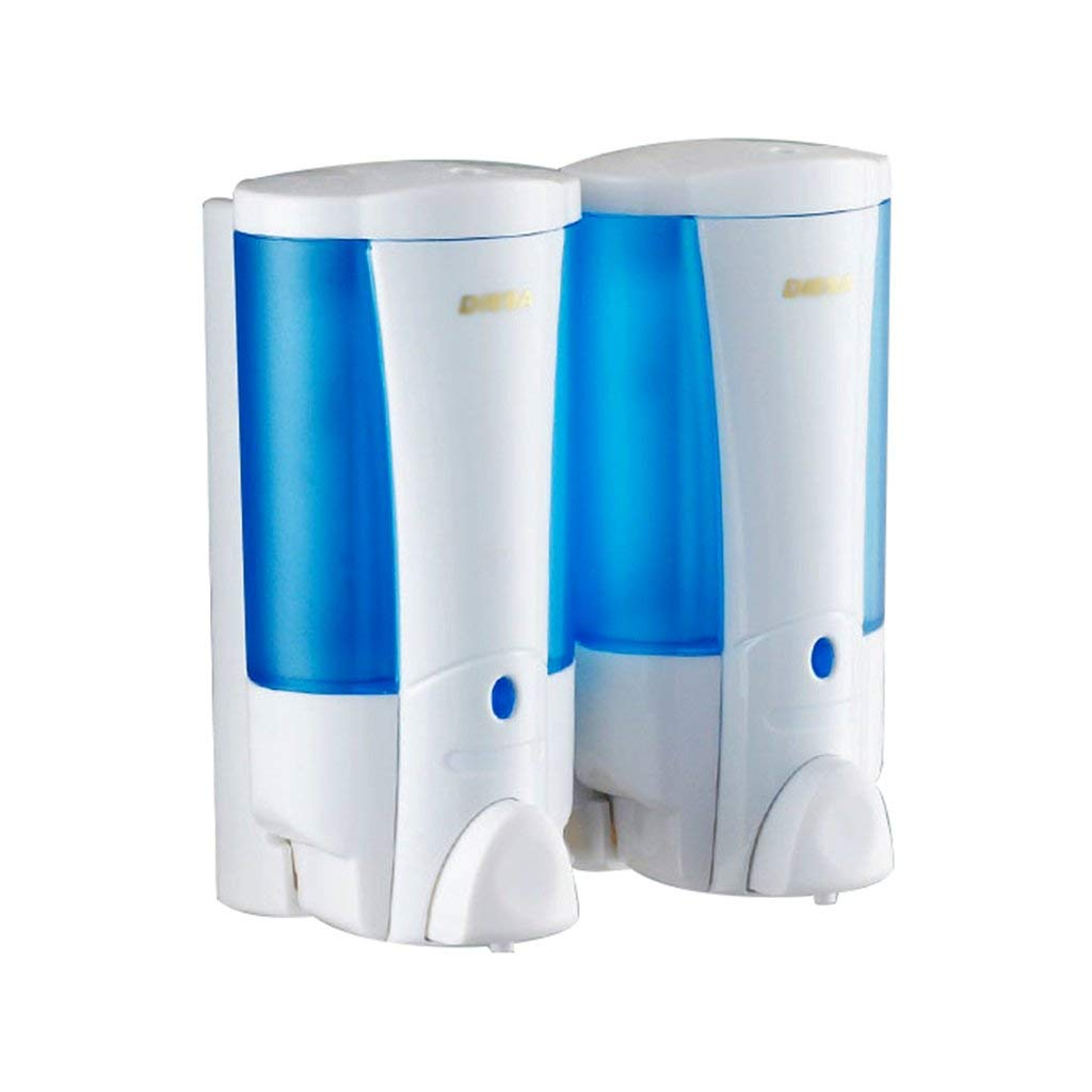 Soap dispenser, double-head soap dispenser wall-mounted push-type soap dispenser hotel bathroom soap dispenser bathroom shower gel box (Color : Blue, Size : 9.51717.5cm)