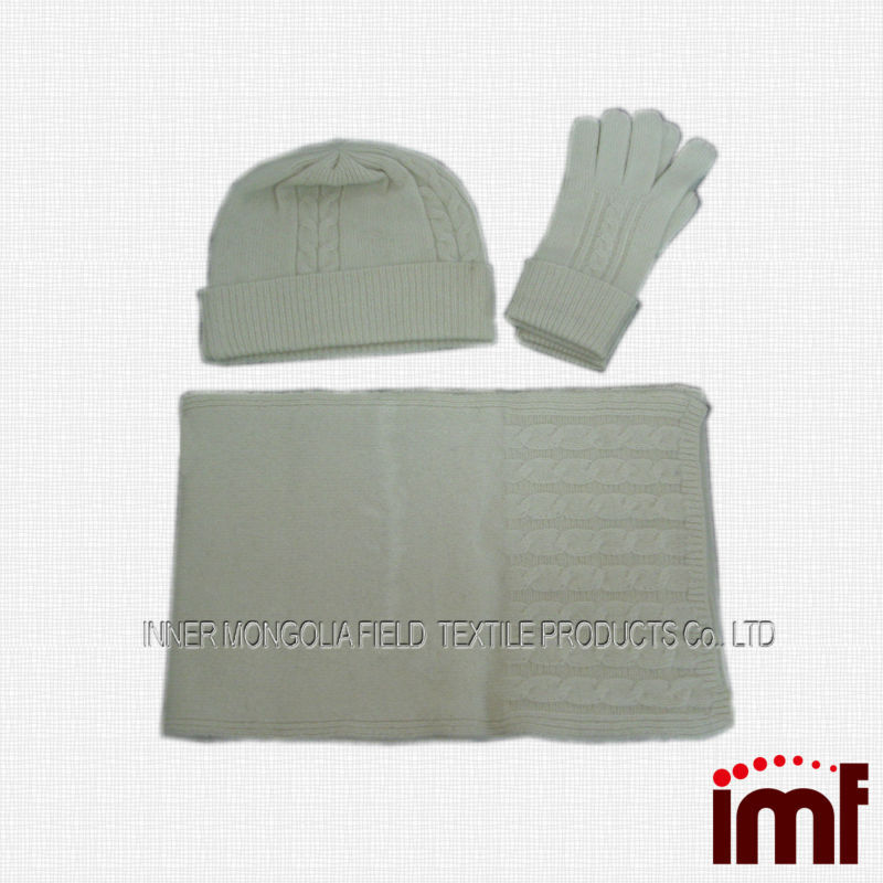 BEST SELLING STYLES Cashmere Winter Hat Scarf Long Glove Set ,inner-mongolia wholesale for kids and adults