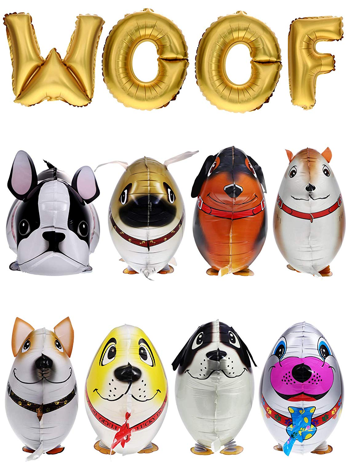 Get Quotations · Gejoy 12 Pieces Walking Animal Balloons Pet Dog Balloons WOOF Letter Balloons Dog Birthday Themed Party