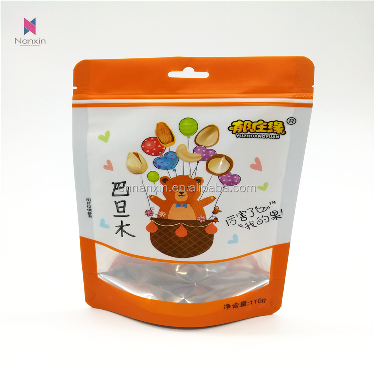 snack packaging and printing zippered stand-up pouch with clear window