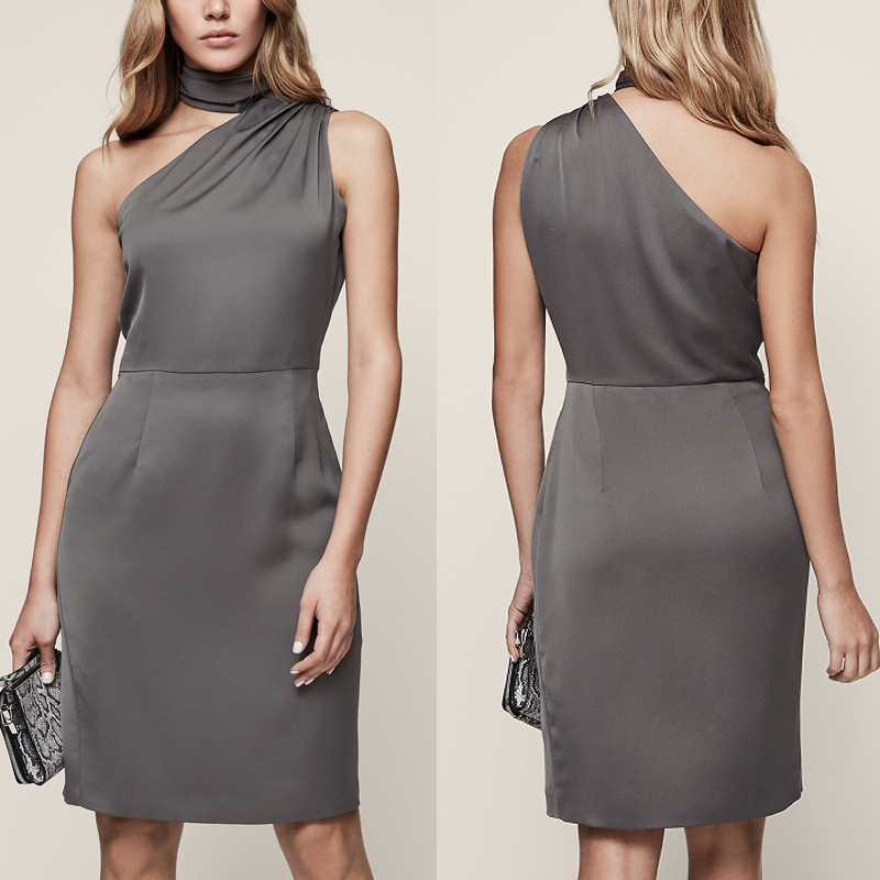 made in china high quality ladies clothing gray silk one shoulder sleeveless women slim fitoffice dress
