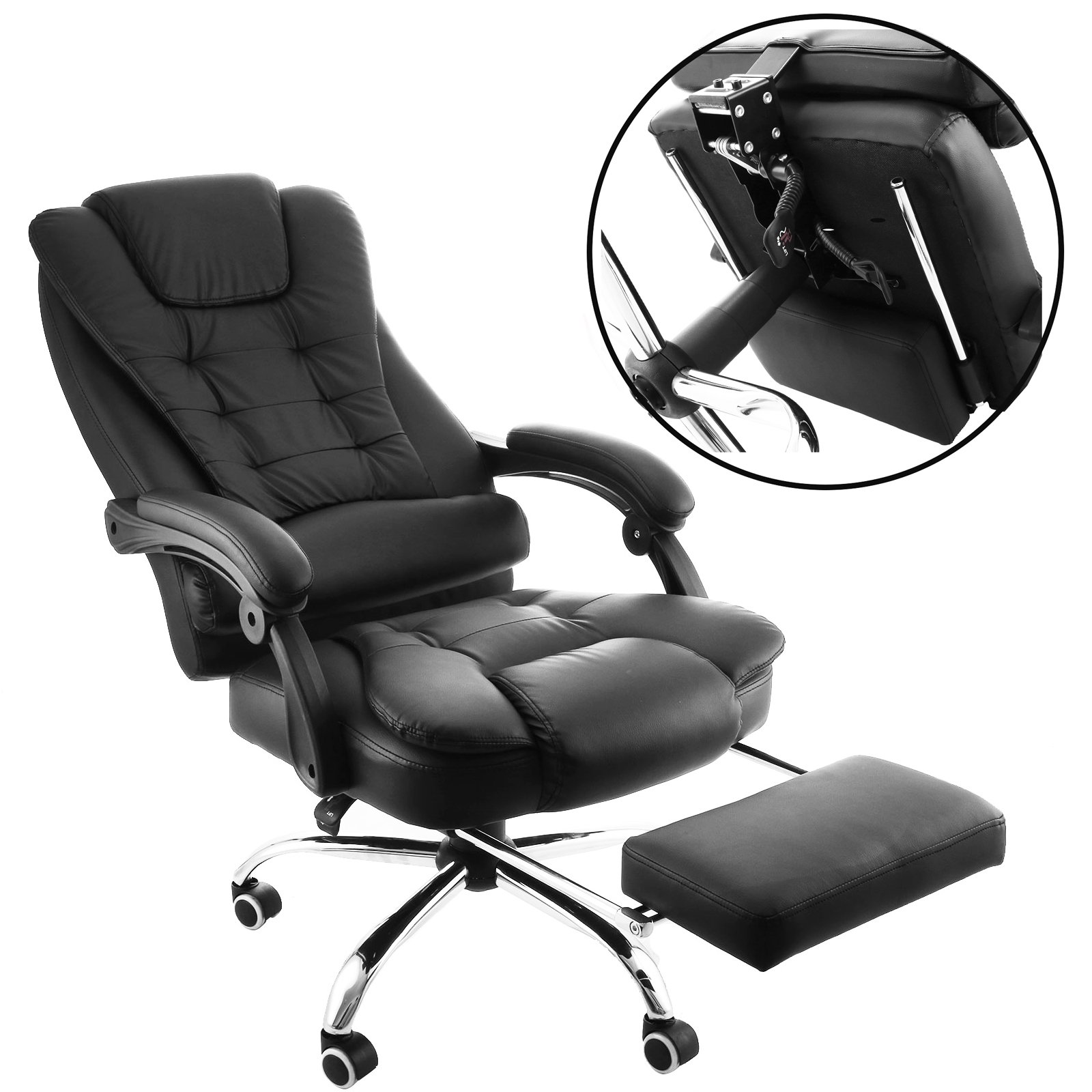 OrangeA High Back Office Chair Ergonomic PU Leather Executive Office Chair 360 Degree Swivel Reclining Office Chair with Footrest Black Computer Desk Chair (Executive Chair with Footrest)