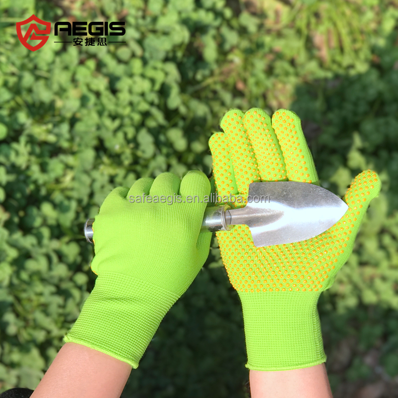 High quality green polyester PVC dotted kids garden gloves
