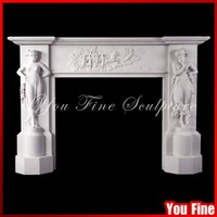 European Figural Chimneypiece Classical Decoration Marble Fireplace Mantel Surround Indoor Freestanding Fireplace Mantel