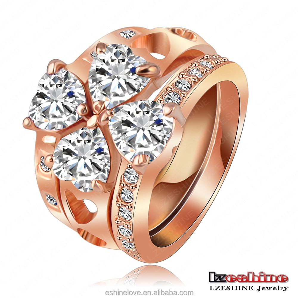 3 Pcs Rings Sets In One Rose Gold Plated Genuine SWA Element Crystal Clover Triple Ring Anelli Ri-HQ1009-A