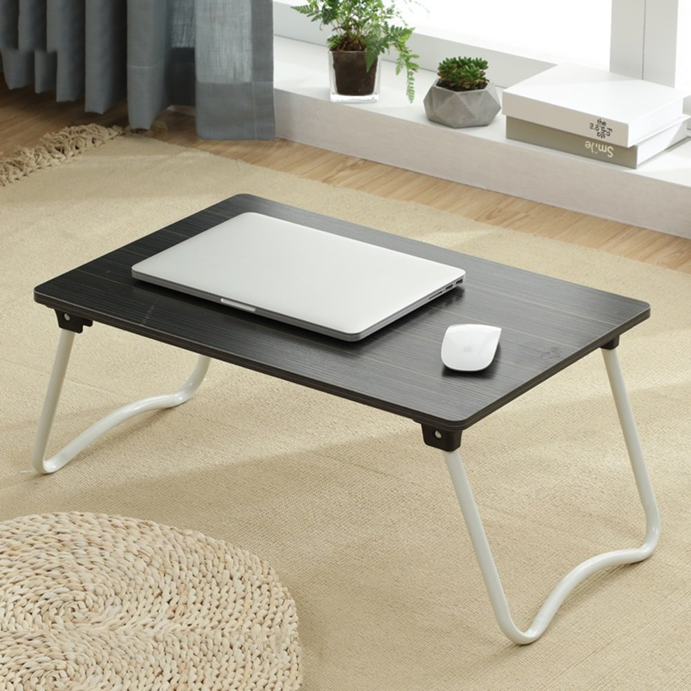 PM Folding tables Tables Folding Laptop Desk Table Stand, Computer Laptop Stand,Foldable Breakfast Tray,Notebook Laptop Desk,Lazy Table Bed Desk,Stahlrahmen ,Portable Folding (Color : 2#-583827)