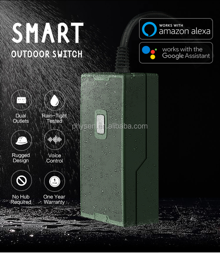SH-18A APP Timer Control by Smart Phone 2.4G Wi-Fi 1-in-2 Enabled Outdoor Electrical Smart Plug Socket