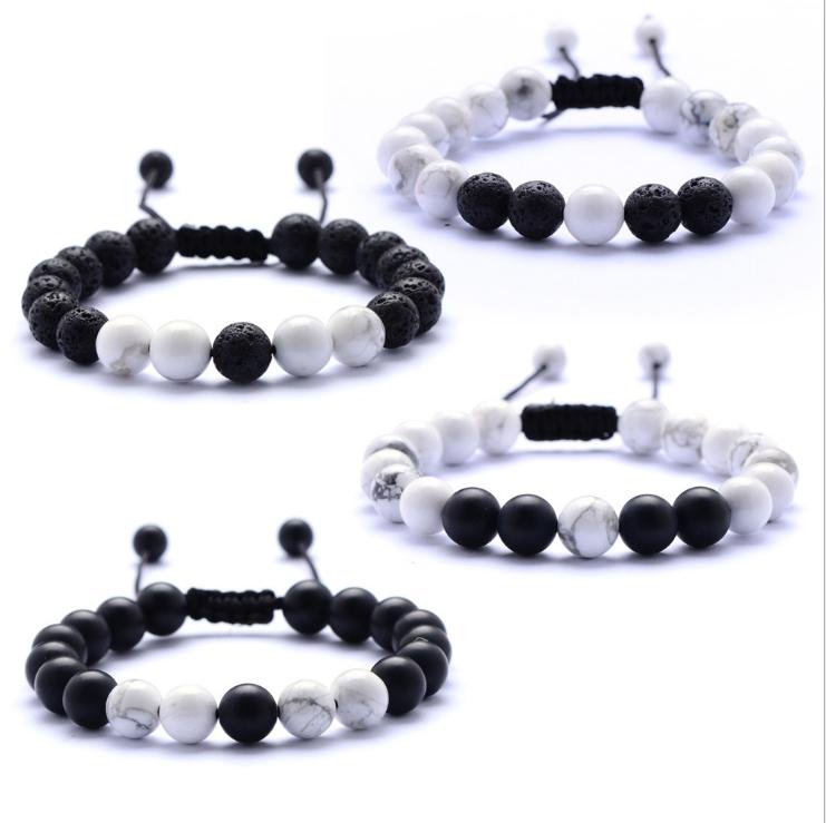 Natural Howlite Stone Men/'s Gold Helmet Beaded Bracelets Black Onyx Lava Bangle