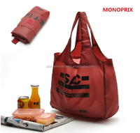 Brown polyester tote bag/polyester folding carry bag