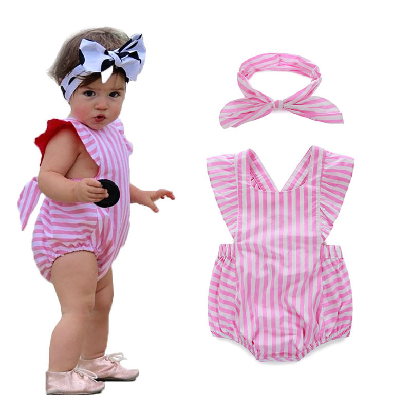 90c532ddc F10192a Infant Summer Cotton Cute Stripe Romper Baby Girl Clothes ...