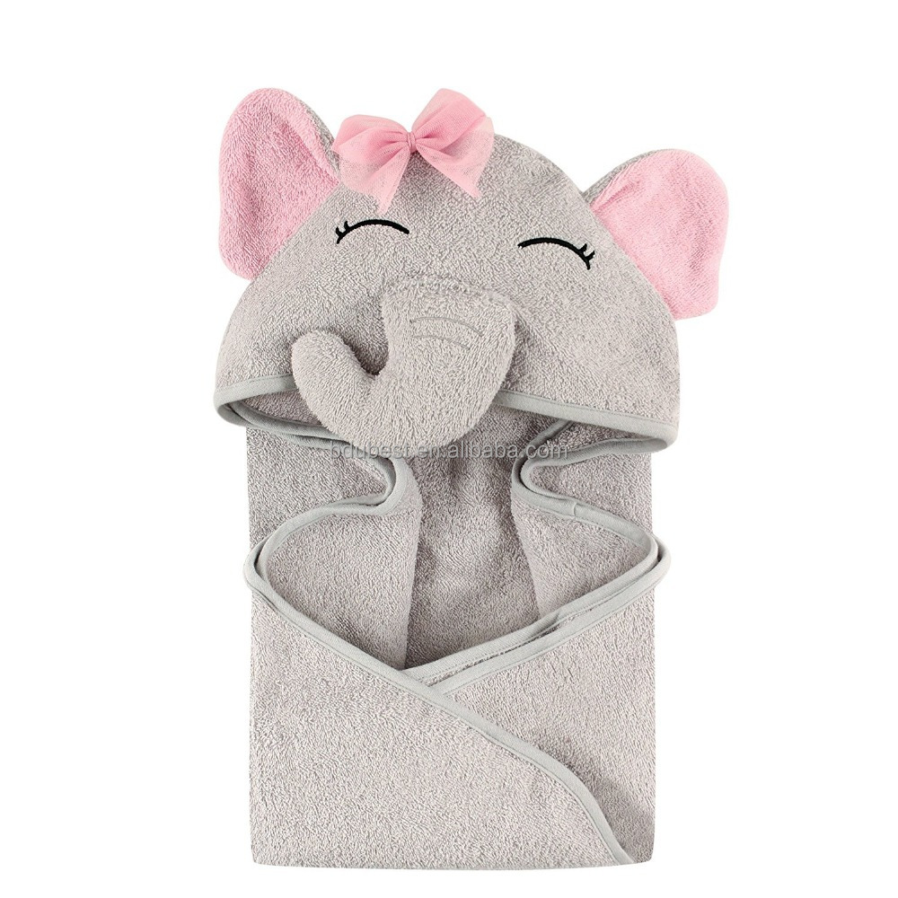 Animal Face Hooded Towel for Girls, Pretty Elephant