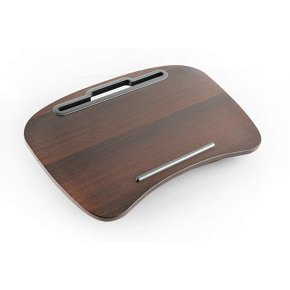 MKKM Lazy Table- Laptop Desk Portable Multi-Function Cushion Computer Lap Stand, Writing Reading Knee Pad, Ipad Tablet, Portable Hand Pillow, Round Walnut Save Space
