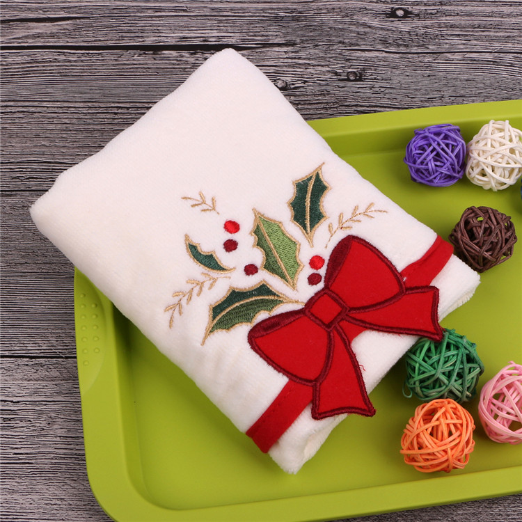 U-HomeTalk UT-YJ058 Wholesale Cotton Embroidery Christmas Kitchen Tea Towels for Gift