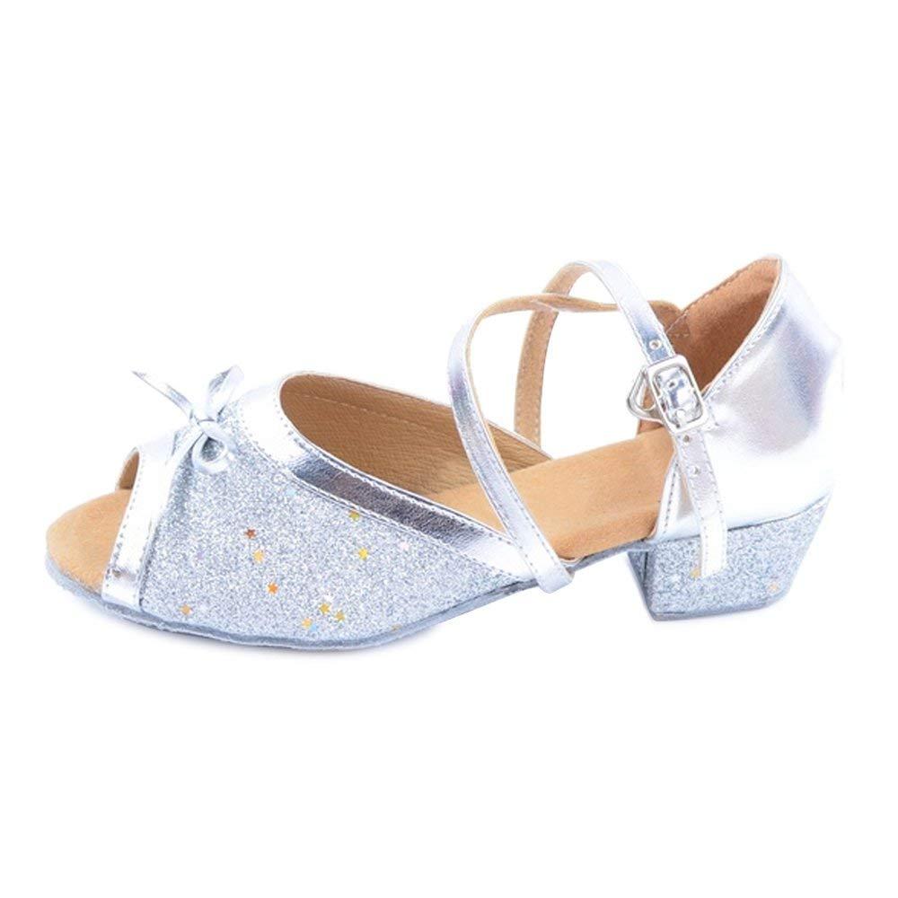 Girls' Glittering Ankle Strap Latin Salsa Dance Shoes ballroom (Little/Big Kid)