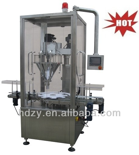 Automatic powder filler for tin can round canisters,bottle jar dry powder filling machine,jar dry powder filling