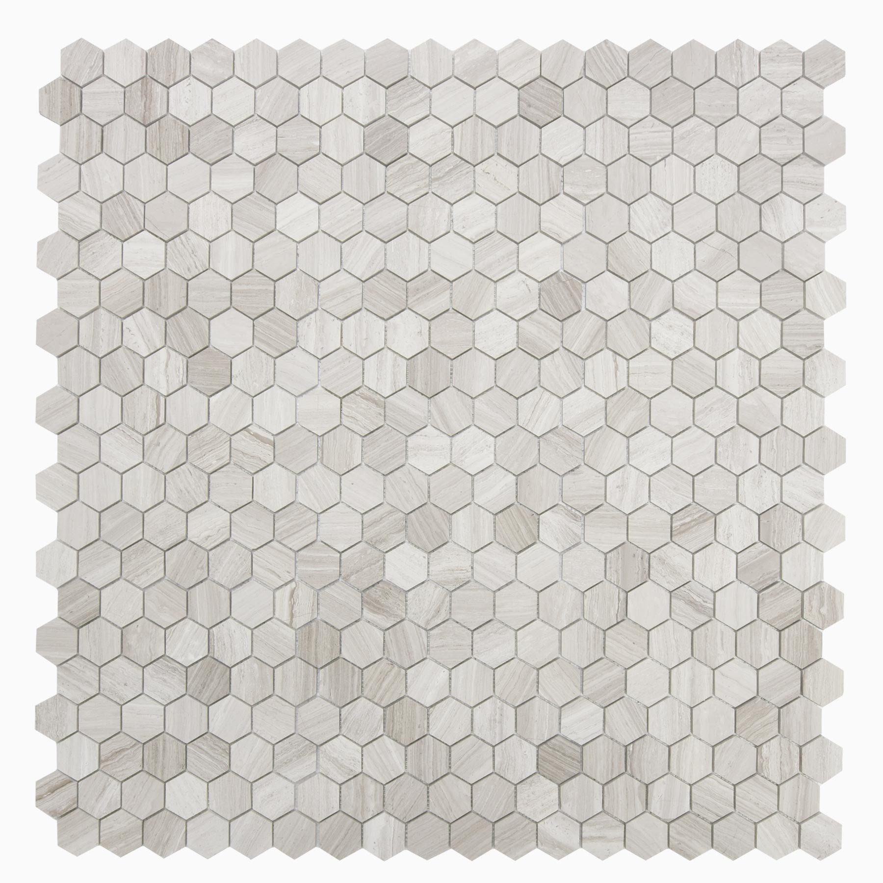 hexagon Mosaic White natural Wooden Marble 305*305mm