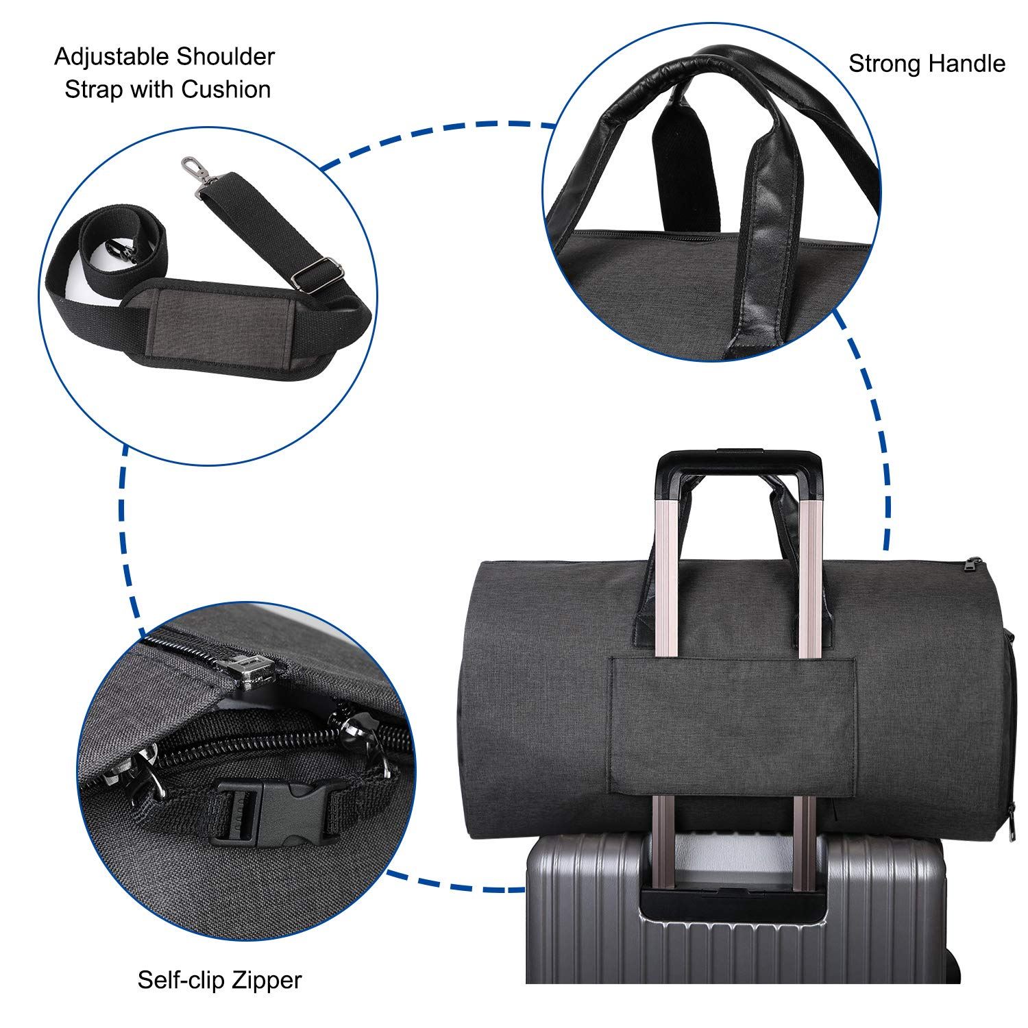 e37fedf3cd22 Water Resistance Convertible Suit Carry On Garment Bag Foldable Luggage  Duffle Bag
