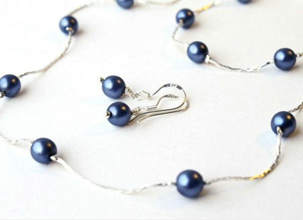 c1d0cefae 3 Pcs. Set Navy Blue Pearl Jewelry Set (13 Colors Available) Bridesmaids  Gift,Flower Girl Necklace,Pearl Necklace - Buy 3 Pcs. Set Navy Blue Pearl  Jewelry ...