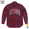 100% Cotton Custom Plaid Flannel Button Down Shirt With Embroidery On Chest