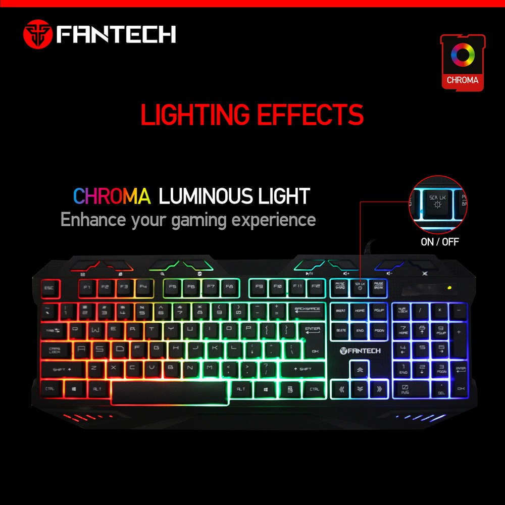 7164e939227 Rainbow Color Led Backlit Fantech Wired Gaming Keyboard - Buy ...
