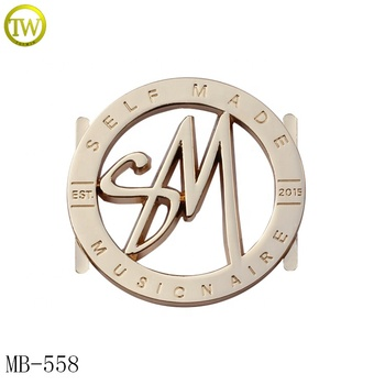 Round shape hollow metal logo brand letter metal hang tag plate for handbags