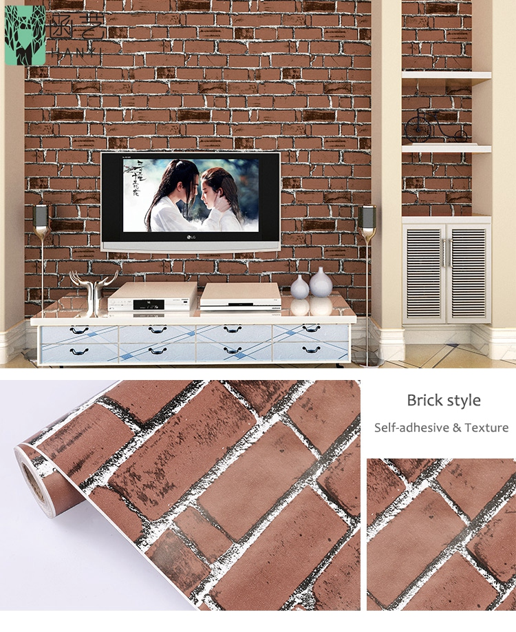 Self Adhesive Brick Vinyl Film PVC 3D Brick Contact Paper