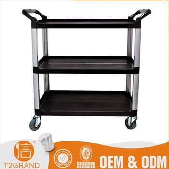 Three Layer Kitchen Plastic Board Trolley Cart With Wheels