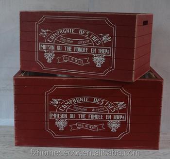 Two Set Antique Organizer Stackable Storage Bin Wooden Storage Box