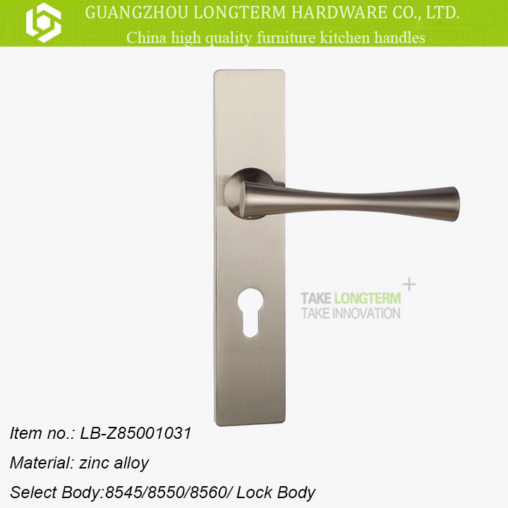 Nice design zinc alloy lever door handle on plate with mortise lock with best price