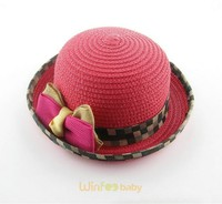 Elegant Children Baby Girls Summer Sun Straw Hat short Brimmed Beach Caps with knotbow ribbon