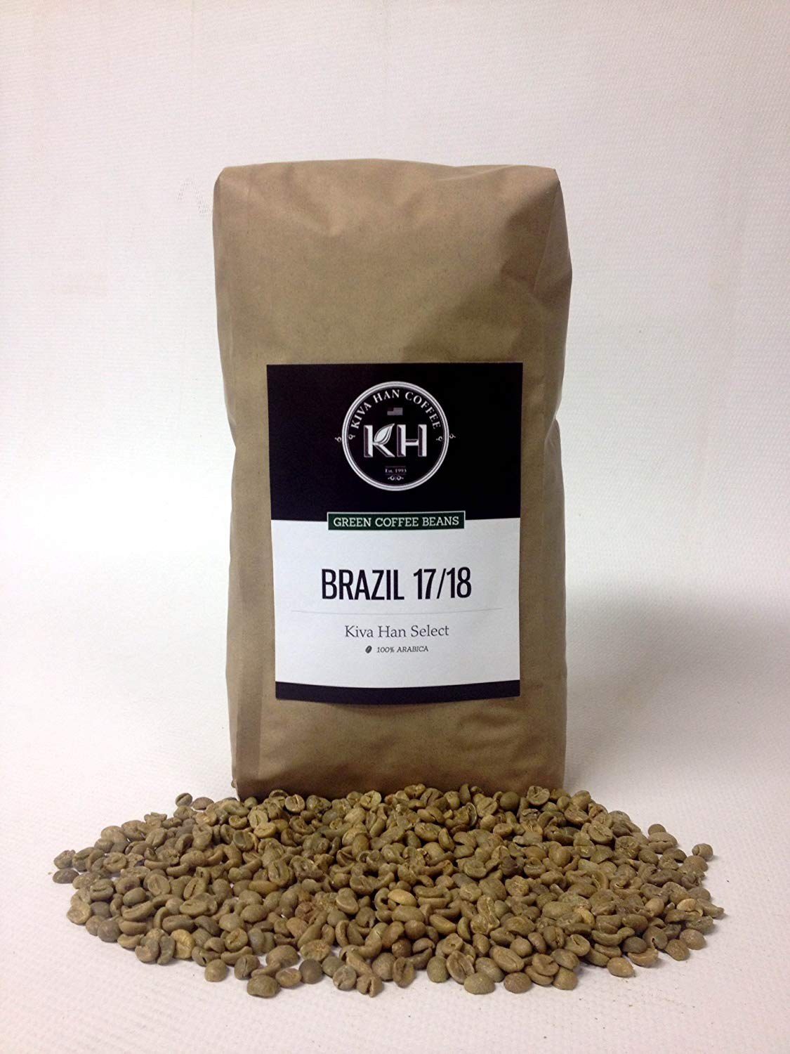 Brazil 17/18 Green Unroasted Coffee Beans, 5 Lb Bag