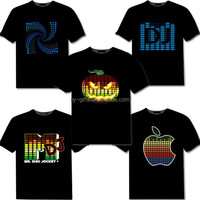 unisex wireless el led t-shirt sound activated wholesale led t shirt