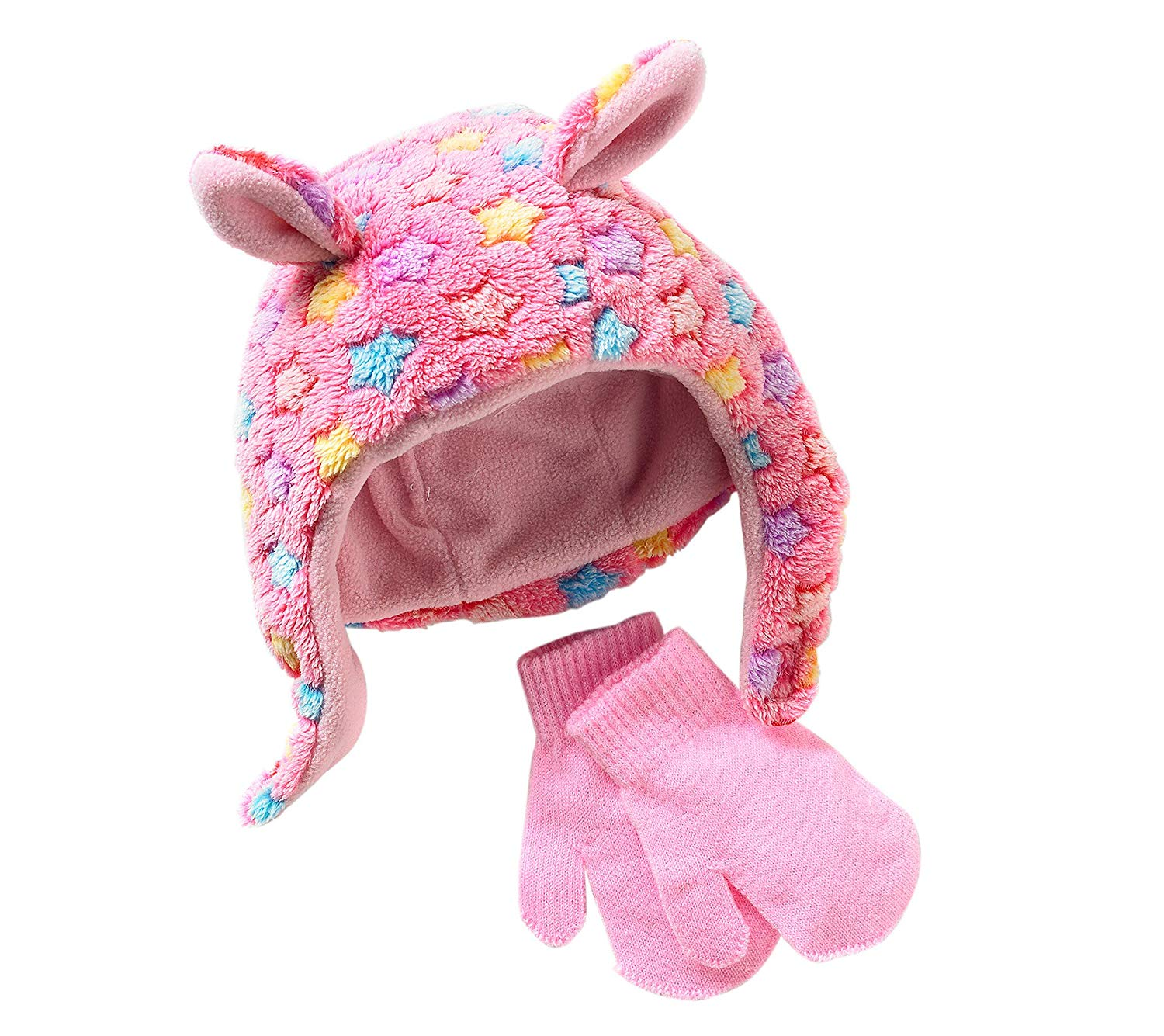 Get Quotations · Miss Attitude Baby Girls  Stars Fuzzy Fleece Hat and Mittens  Set 314932381aed