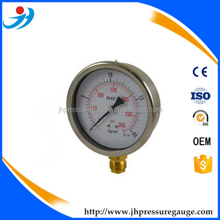 100mm(1/4BSP) 0-300psi/0-20kg/cm2 stainless steel Measuring Natural Gas Pressure Gauge