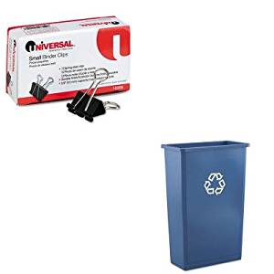 KITRCP354074BLUUNV10200 - Value Kit - Rubbermaid Slim Jim Recycling Container (RCP354074BLU) and Universal Small Binder Clips (UNV10200)